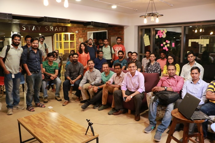 Group picture after the panel discussion on career paths and career transitions in Product Management at UpGrad Xchange