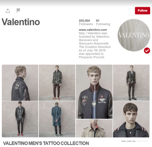 Valentino Pinterest Profile